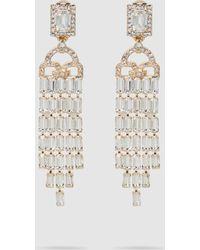 Alberta Ferretti - Gold-tone Crystal Waterfall Earrings - Lyst