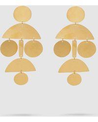 Annie Costello Brown Pom Pom Chandelier Earrings - Metallic