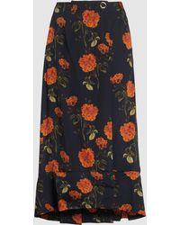 Mother Of Pearl Lora Peplum Hem Silk Skirt - Black