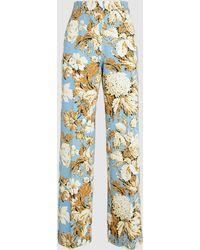 Stine Goya Hortensia Print Straight Pants - Blue