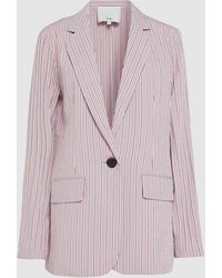 Tibi Striped Oversized Twill Blazer - Pink