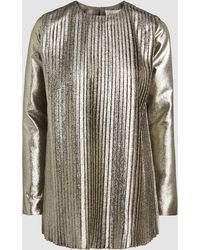 SemSem - Metallic Pleated Long Sleeve Top - Lyst