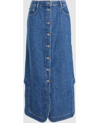 Ganni Button Detail Denim Maxi Skirt - Blue