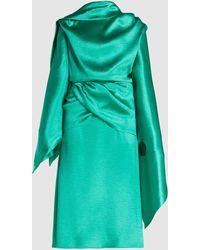 Christopher Kane Draped Crinkle Satin Midi Dress - Green