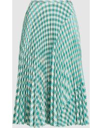 Cedric Charlier Pleated Gingham Chequered Eco-leather Midi Skirt - Green