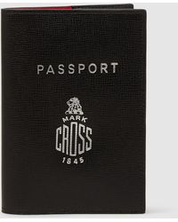 Mark Cross Saffianio Leather Passport Cover - Black