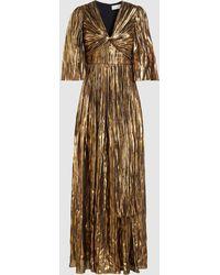 Peter Pilotto Striped Lurex Chiffon Gown - Metallic