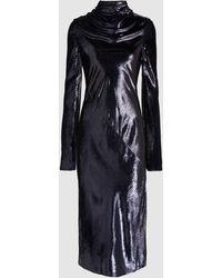Ellery Gotham High Neck Metallic Velvet Dress - Blue