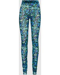 Ganni Floral Print Mesh Leggings - Blue