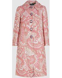 Dolce & Gabbana Crystal-button Paisley-brocade Coat - Pink