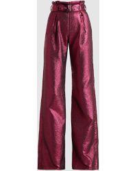 Madiyah Al Sharqi Belted Lamé Pants - Red