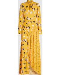 Self-Portrait Floral Print Crepe De Chine Maxi Dress - Yellow