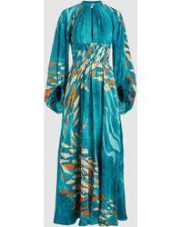 Stella Jean - Silk Abito Lungo Long Sleeve Maxi Dress - Lyst