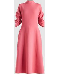 Emilia Wickstead Marvel Ruched Wool-crepe Midi Dress - Pink