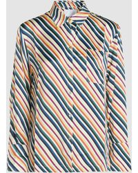 Asceno - Diagonal Stripe Silk Pyjama Top - Lyst
