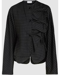 Lemaire Checked Wool-blend Blouse - Black