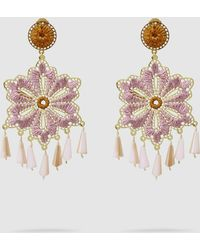 Mercedes Salazar Hibiscus Gold-tone And Crystal Earrings - Metallic