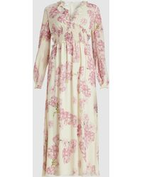Giambattista Valli Floral Long Sleeve Silk Midi Dress - Multicolour