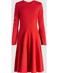 Oscar de la Renta Stretch Wool-crepe Dress - Red