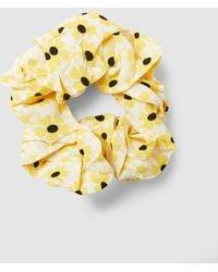 Ganni Floral-print Crepe Scrunchie - Yellow