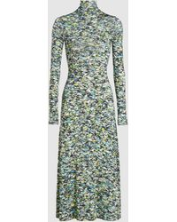 Rosetta Getty Half Zip Foam Print Midi-dress - Green