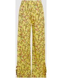 Baum und Pferdgarten - Nissa Printed Stretch-silk Trousers - Lyst