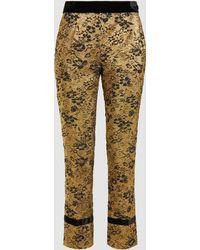 Floral-jacquard Gold Lamé Trousers Lanvin UXiWdufLep
