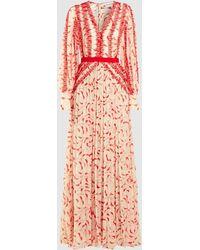 Self-Portrait - Crescent Printed Chiffon Maxi Dress - Lyst