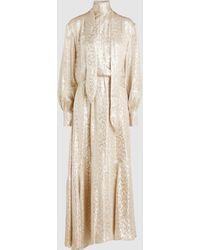 LAYEUR - Silk-blend Necktie Maxi Dress - Lyst