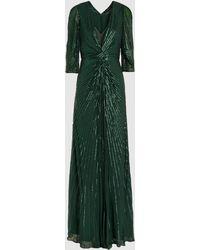 Jenny Packham Tana Front Twist Sequinned Silk-chiffon Gown - Green
