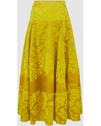 Rosie Assoulin Printed Lace Full Circle Silk Skirt - Yellow