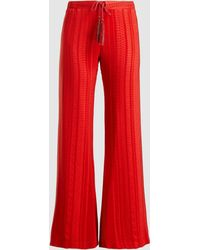 Zeus+Dione Alcestes Satin-jacquard Wide Leg Trousers - Red