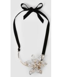 Lanvin - Embellished Silver-tone Flower Necklace - Lyst