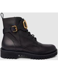 Valentino Garavani V-logo Combat Boots - Black