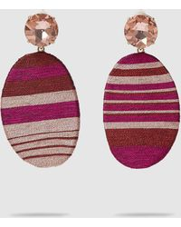 MaryJane Claverol Happy Zone Striped Clip-on Earrings - Pink