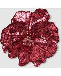 Racil Flower Sequinned Brooch - Red
