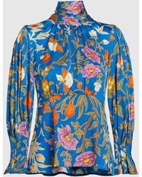 Peter Pilotto Floral High Neck Blouse - Blue