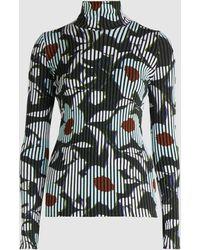 Christian Wijnants Karsi Fasella Printed Ribbed Knit Turtleneck - Black