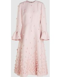Valentino Embellished Wool Blend Midi Dress - Pink