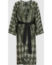 Zero + Maria Cornejo Belted Kimono Coat - Green