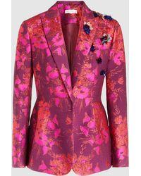 Delpozo - Embellished Floral-jacquard Blazer - Lyst