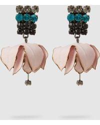 Marni - Crystal-embellished Sateen Flower Earrings - Lyst