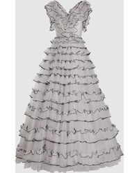 Jenny Packham Dolores Sleeveless Ruffled Tulle Gown - Gray