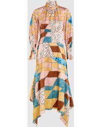 Peter Pilotto Scarf Neck Printed Silk Midi Dress - Multicolour