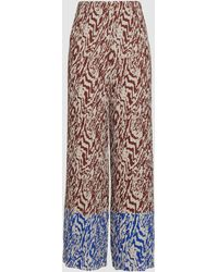 Solace London Nevya Animal Print Wide Leg Plissé Pants - Multicolor