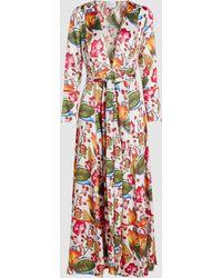 We Are Leone - Jungle Print Silk Maxi Robe - Lyst
