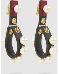 Marni - Faux Pearl-embellished Leather Earrings - Lyst