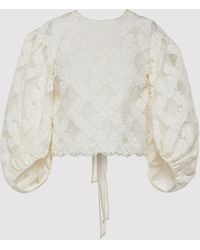 Cecile Bahnsen Agnes Embroidered Cropped Blouse - White