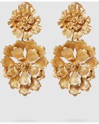 Oscar de la Renta - Flower Drop Gold-tone Clip Earrings - Lyst