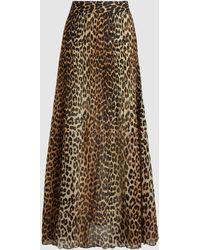 Ganni Leopard Print A-line Long Skirt - Brown